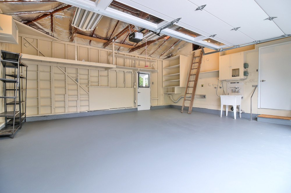 Garage after cleanup: note clean look and plenty of storage space
