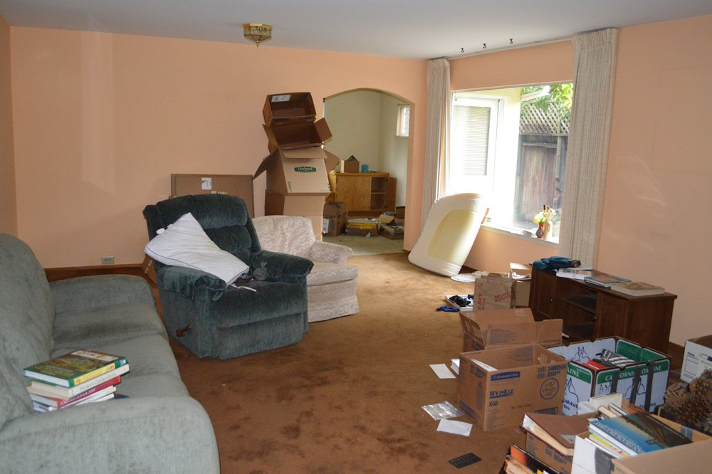Living room before cleanup - note clutter and outdated carpet