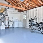 Inside the garage: appliances, motorcycle